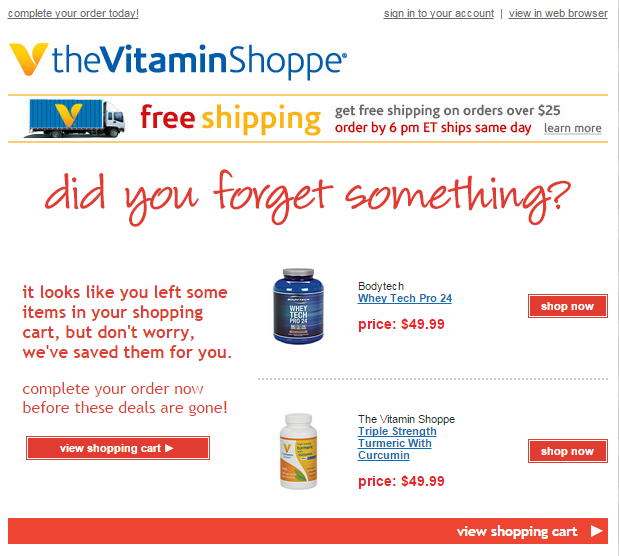 Vitamin Shop email
